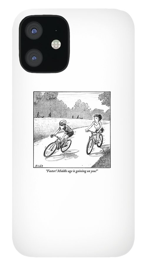 A Woman Casually Riding A Bicycle Addresses A Man IPhone 12 Case