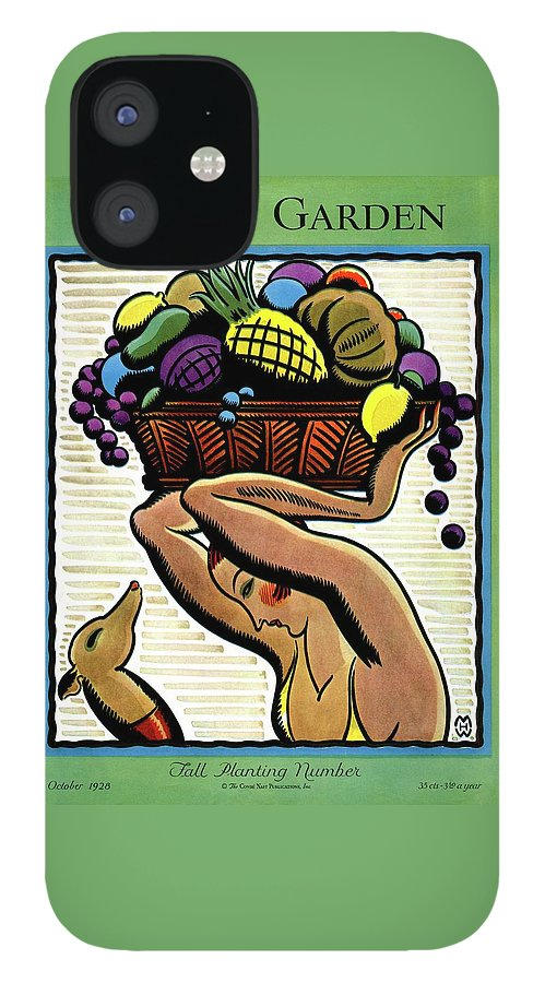 A Woman Holding A Basket Of Fruit IPhone 12 Case