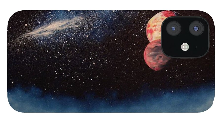Landscape IPhone 12 Case featuring the painting Above Alien Clouds by Murphy Elliott