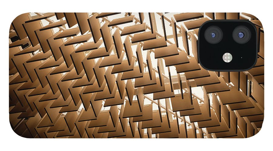 Material iPhone 12 Case featuring the photograph Abstract Architectural Pattern by Lena serditova