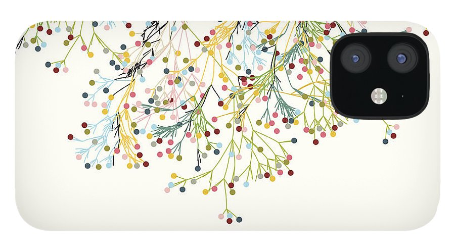 New Business IPhone 12 Case featuring the digital art Abstract Colorful Plant Pattern by Shuoshu