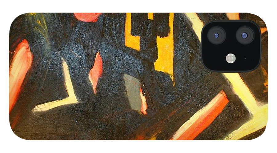 iPhone 12 Case featuring the painting Abstract Houses by Biagio Civale