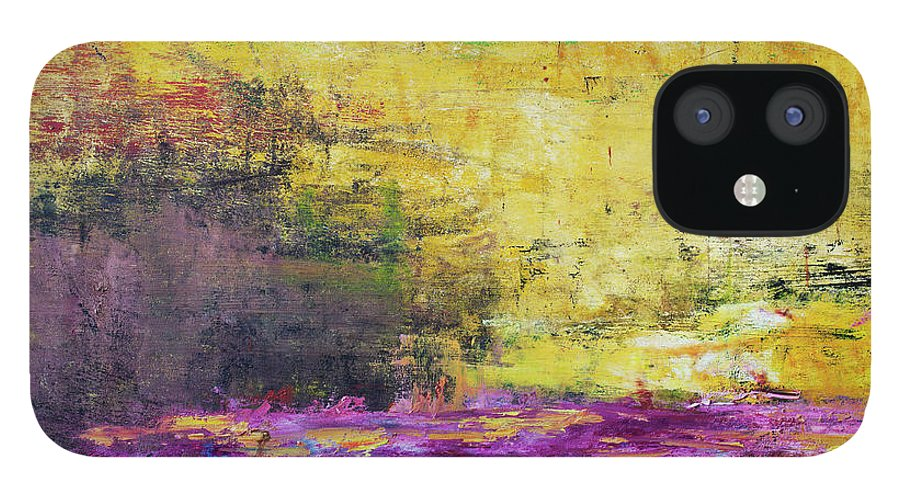 Oil Painting IPhone 12 Case featuring the photograph Abstract Painted Yellow Art Backgrounds by Ekely