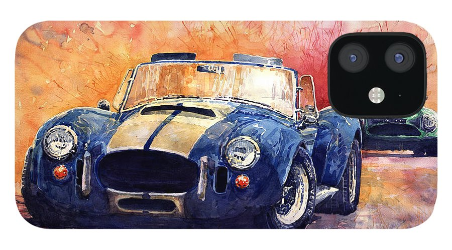 Shevchukart IPhone 12 Case featuring the painting AC Cobra Shelby 427 by Yuriy Shevchuk