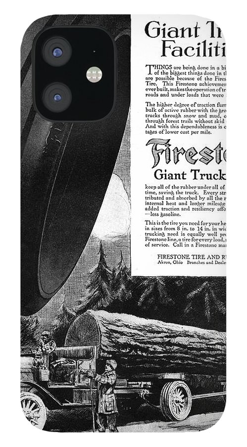 1918 IPhone 12 Case featuring the painting Ad Firestone, 1918 by Granger