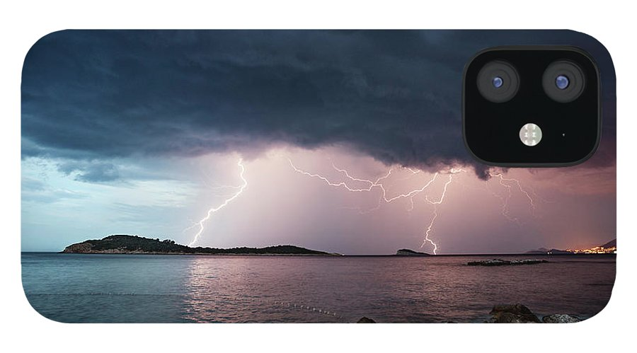 Adriatic Sea IPhone 12 Case featuring the photograph Adriatic Lightning by Image By Chris Winsor
