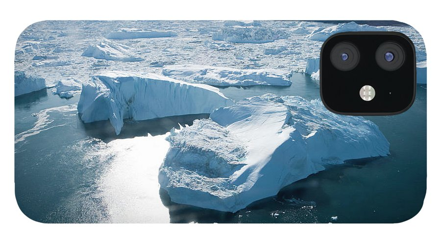 Melting iPhone 12 Case featuring the photograph Aerial Of Icebergs Of Ilulissat by Holger Leue