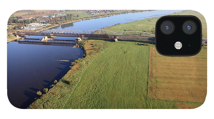 Railroad Track IPhone 12 Case featuring the photograph Aerial Photo Of The Railway Bridge by Dariuszpa