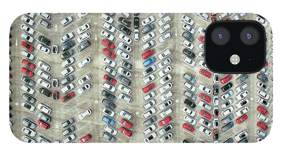 Freight Transportation IPhone 12 Case featuring the photograph Aerial View Of Parked Cars by Orbon Alija