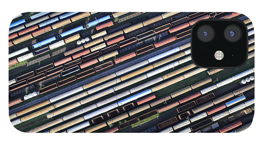 Freight Transportation IPhone 12 Case featuring the photograph Aerial View Of The Railway Station by Dariuszpa