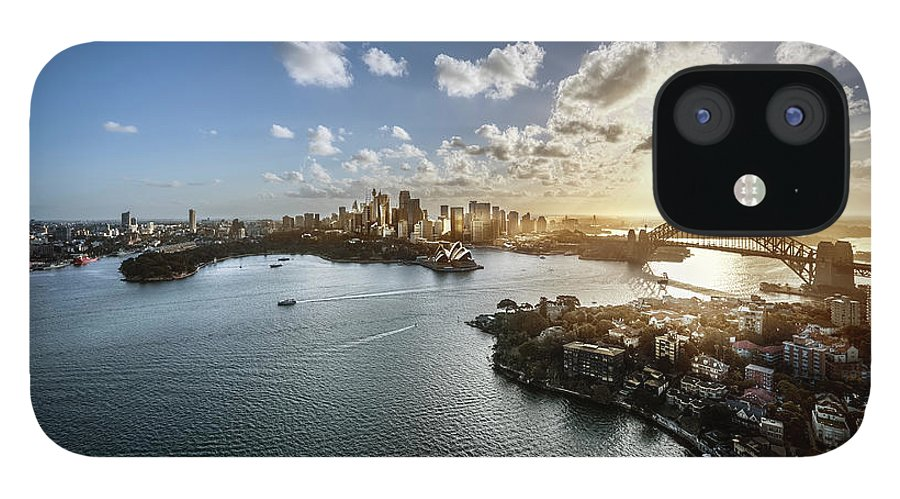 Sydney Harbor Bridge IPhone 12 Case featuring the photograph Aeriall View Of Sydney Harbour At Sunset by Howard Kingsnorth