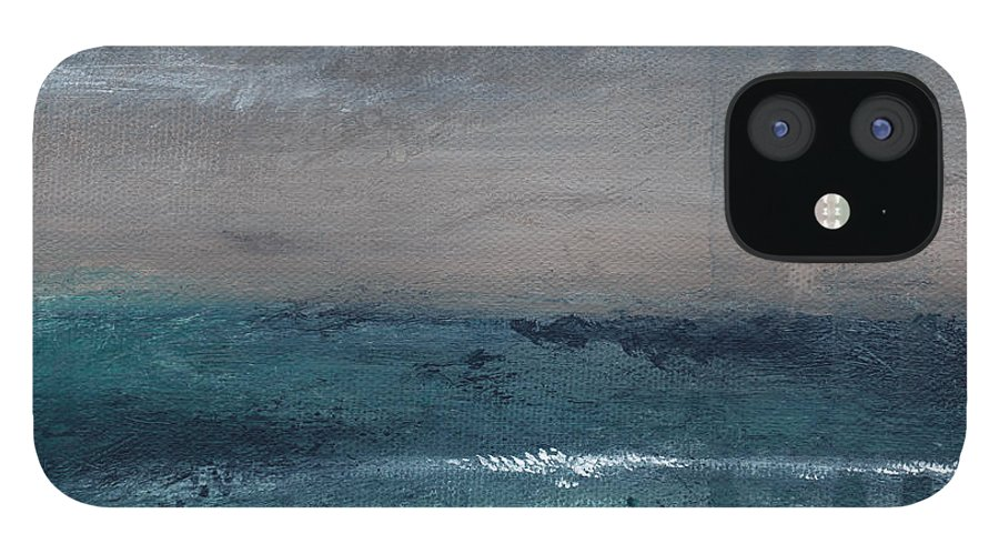 Abstract Landscape IPhone 12 Case featuring the painting After The Storm- Abstract Beach Landscape by Linda Woods