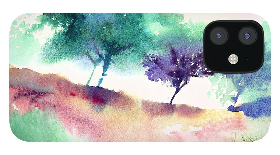 Black IPhone 12 Case featuring the painting Against Light 1 by Anil Nene
