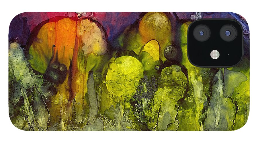 Alcohol Inks iPhone 12 Case featuring the painting Ai-2 by Francine Dufour Jones