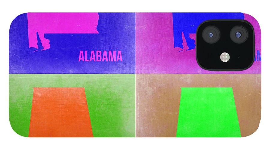 Alabama Map IPhone 12 Case featuring the painting Alabama Pop Art Map 2 by Naxart Studio
