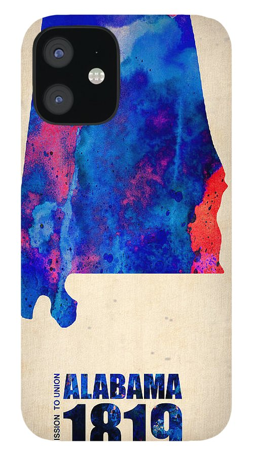 Alabama IPhone 12 Case featuring the digital art Alabama Watercolor Map by Naxart Studio