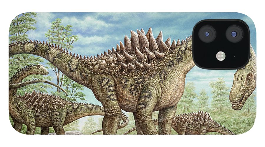Animal IPhone 12 Case featuring the painting Ampelosaurus dinosaur by Phil Wilson