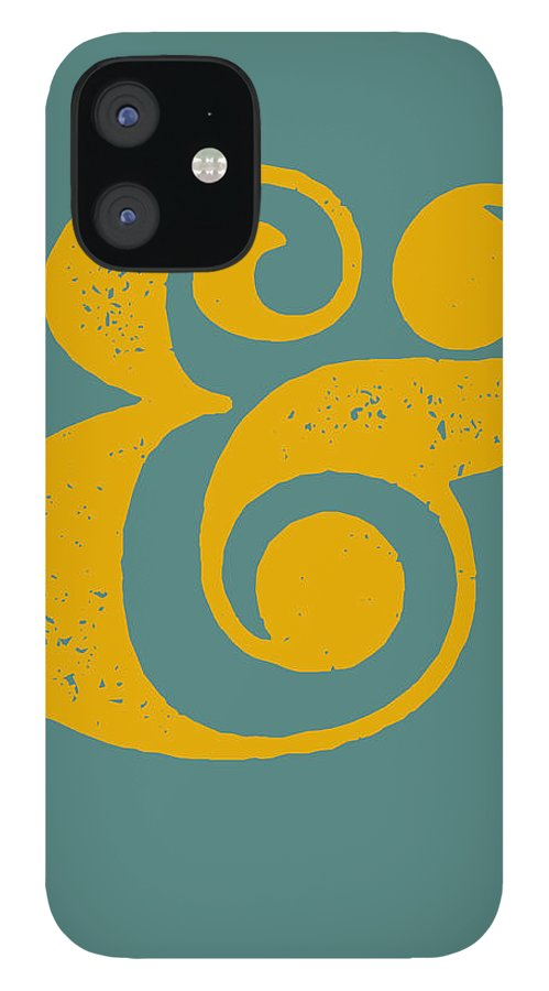 Ampersand IPhone 12 Case featuring the digital art Ampersand Poster Blue and Yellow by Naxart Studio