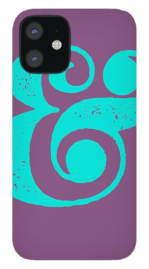 Ampersand IPhone 12 Case featuring the digital art Ampersand Poster Purple and Blue by Naxart Studio