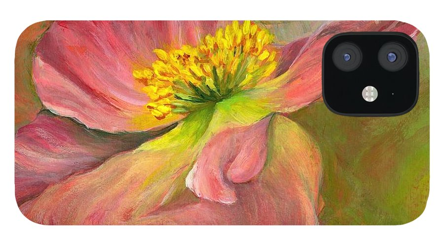 Acrylic IPhone 12 Case featuring the painting Anemone by Muriel Dolemieux