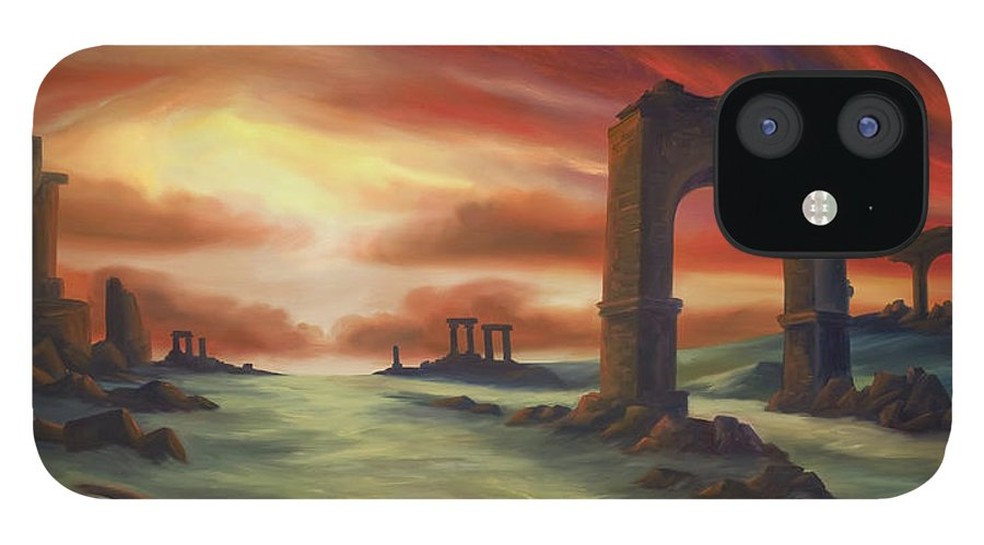 Sunset IPhone 12 Case featuring the painting Another Fallen Empire by James Christopher Hill