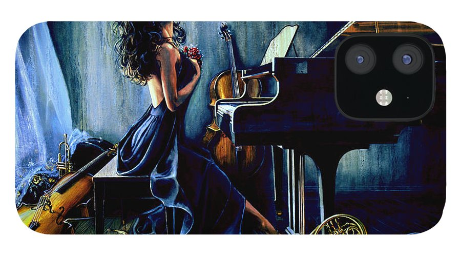 Musical Instrument Still Life IPhone 12 Case featuring the painting Appassionato by Hanne Lore Koehler