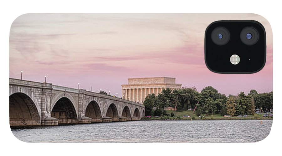 Photography IPhone 12 Case featuring the photograph Arlington Memorial Bridge With Lincoln by Panoramic Images