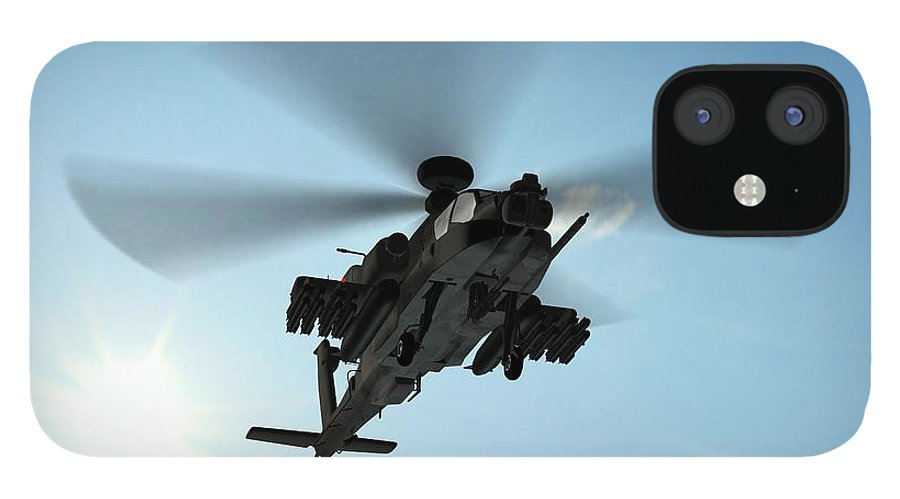 Wind IPhone 12 Case featuring the photograph Armed Longbow Apache Helicopter In by Bestgreenscreen