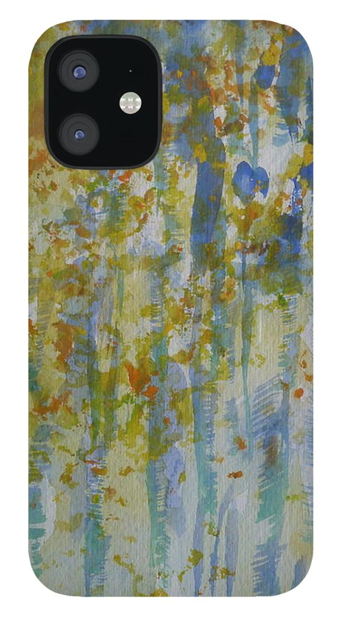 Impressionist Watercolor IPhone 12 Case featuring the painting Aspens framed by Phoenix Simpson