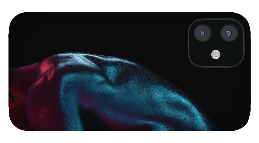 Cool Attitude IPhone 12 Case featuring the photograph Athletic Male Bending, Head Down, Side by Jonathan Knowles