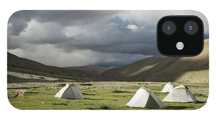 Tranquility iPhone 12 Case featuring the photograph Atmospheric Grassy Camping by Jamie Mcguinness - Project Himalaya