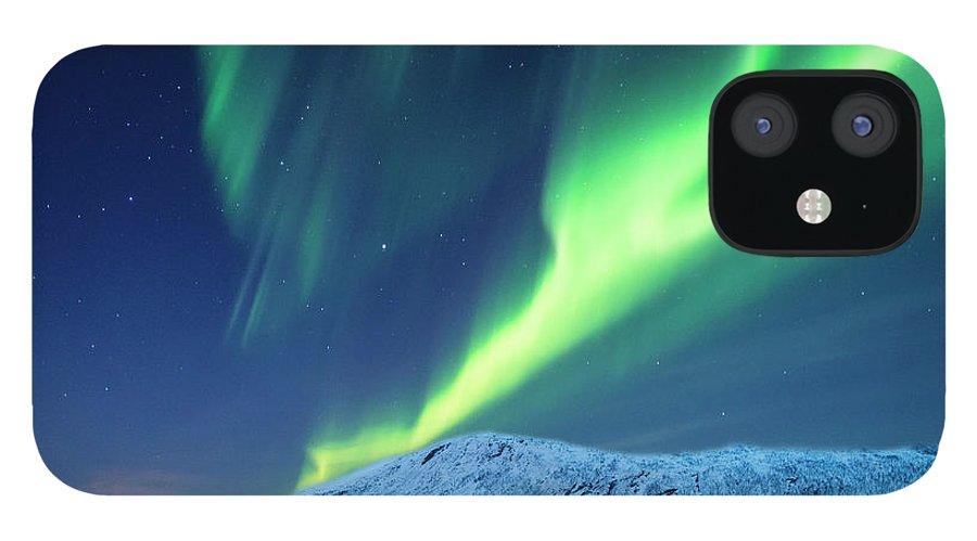 Scenics IPhone 12 Case featuring the photograph Aurora Borealis Over Tromso Port by Mike Hill