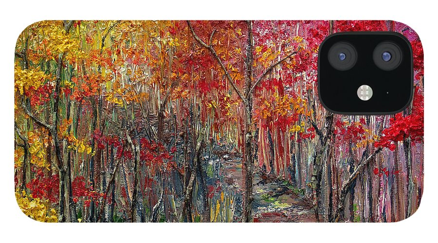 Autumn IPhone 12 Case featuring the painting Autumn In The Woods by Karin Dawn Kelshall- Best