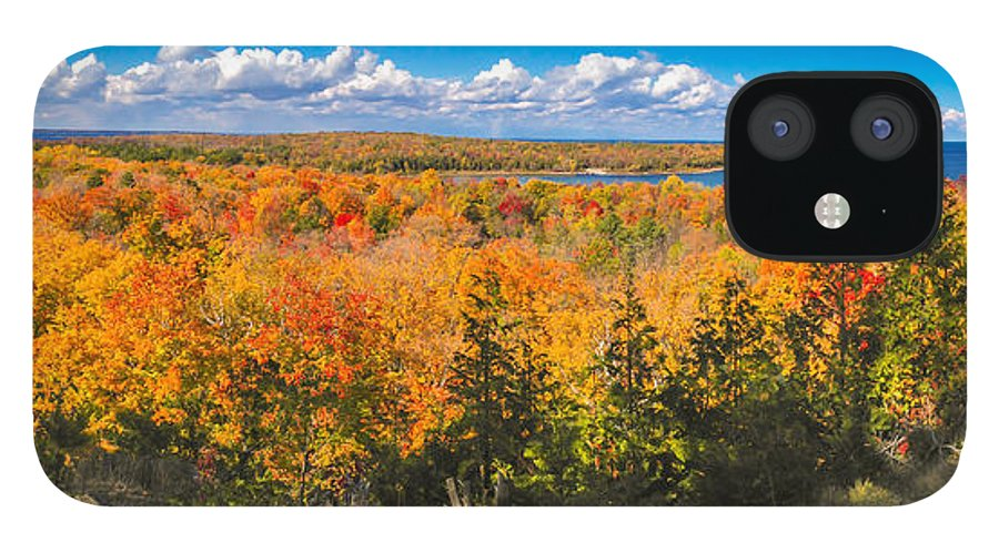 Door County IPhone 12 Case featuring the photograph Autumn Vistas of Nicolet Bay by Ever-Curious Photography