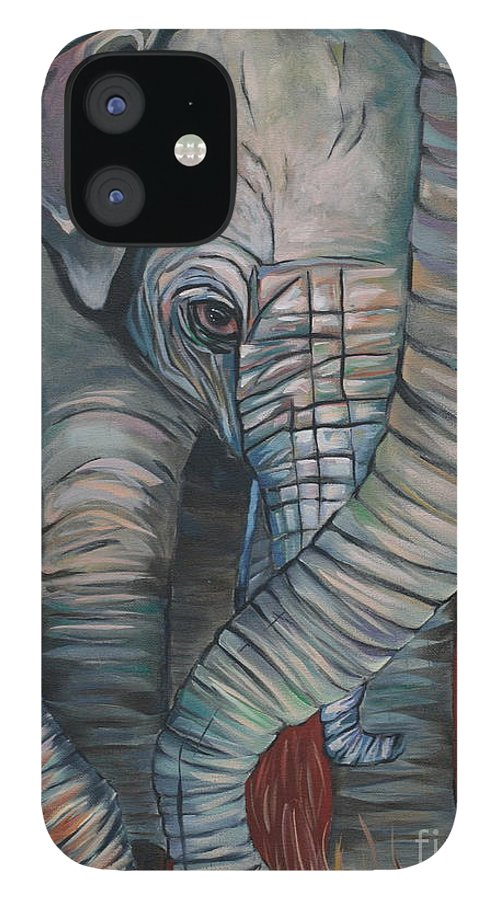 Baby Elephant IPhone 12 Case featuring the painting Baby Comfort by Aimee Vance