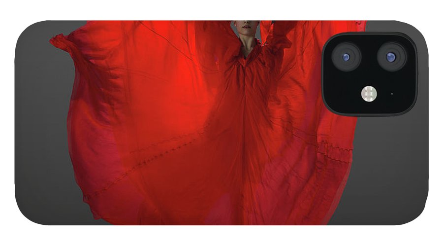 Ballet Dancer IPhone 12 Case featuring the photograph Ballerina On Pointe With Red Dress by Nisian Hughes