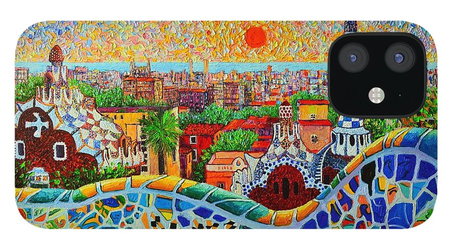 Barcelona IPhone 12 Case featuring the painting Barcelona View At Sunrise - Park Guell Of Gaudi by Ana Maria Edulescu