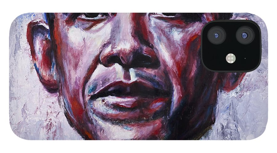 Barock Obama IPhone 12 Case featuring the painting Barock Obama by Mark Courage