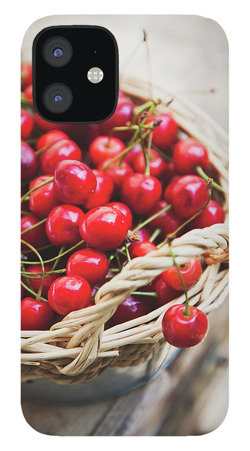 Cherry iPhone 12 Case featuring the photograph Basket Of Cherries by © Emoke Szabo