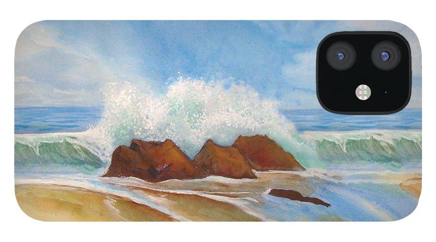 Rick Huotari IPhone 12 Case featuring the painting Beach Front by Rick Huotari