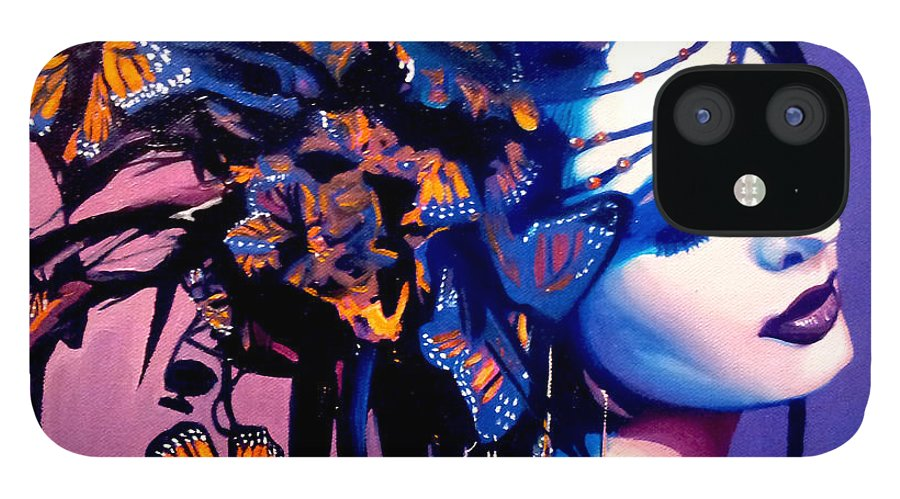 Butterflies IPhone 12 Case featuring the painting Betty by Jose Manuel Abraham