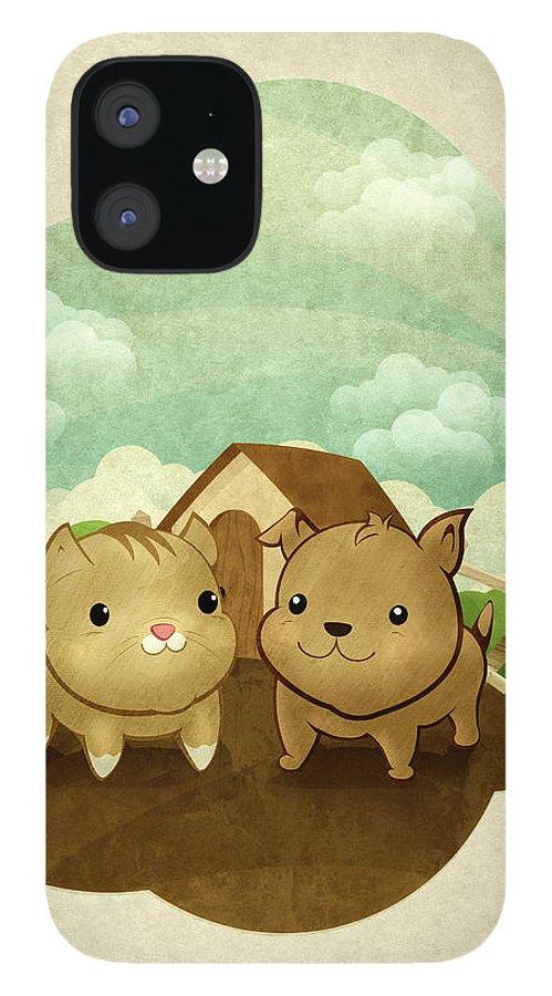 Pets IPhone 12 Case featuring the digital art Bichos by Por Caio Ramos