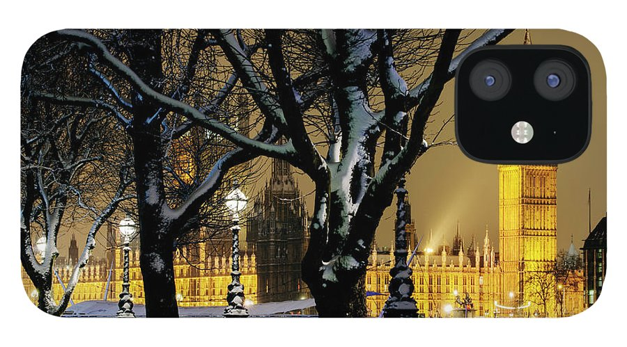Tranquility IPhone 12 Case featuring the photograph Big Ben And Houses Of Parliament In Snow by Shomos Uddin