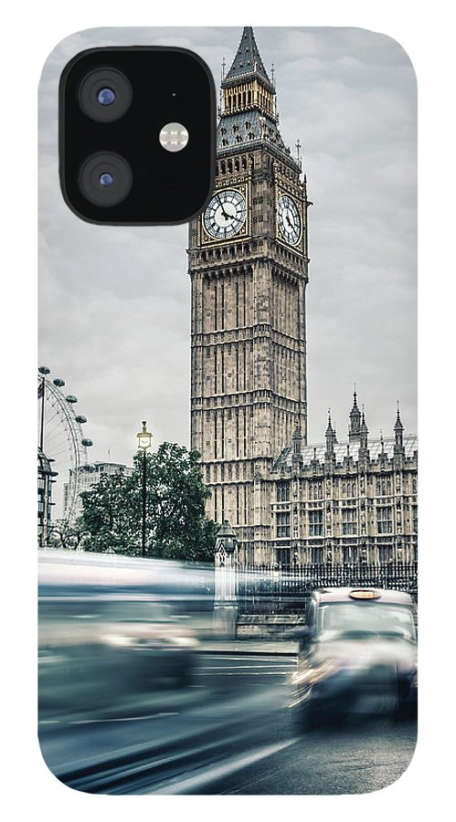 Gothic Style IPhone 12 Case featuring the photograph Big Ben At Dusk With Passing Traffic - by Alpamayophoto