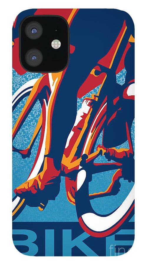 Retro Cycling Poster IPhone 12 Case featuring the painting Bike Hard by Sassan Filsoof