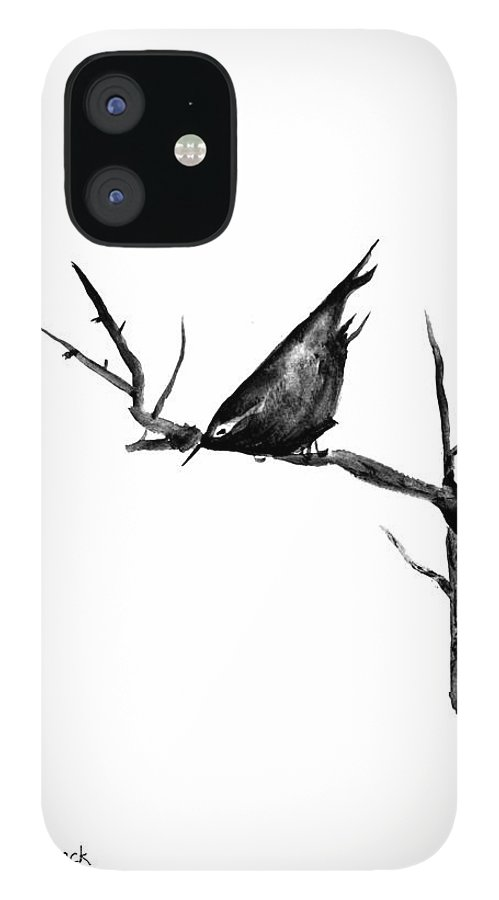 Bird iPhone 12 Case featuring the painting Black Bird On A Branch by Patricia Novack