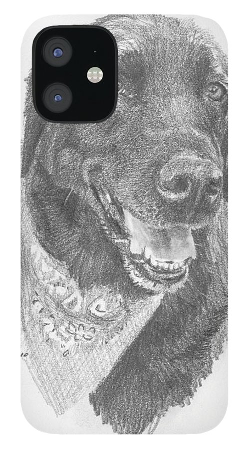 <a Href=http://miketheuer.com Target =_blank>www.miketheuer.com</a> Black Lab With Bandana Pencil Portrait IPhone 12 Case featuring the drawing Black Lab With Bandana Pencil Portrait by Mike Theuer