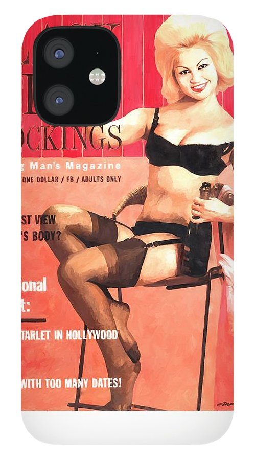 Black Silk Magazine IPhone 12 Case featuring the digital art Black Silk - Vintage Magazine Covers Series by Gabriel T Toro