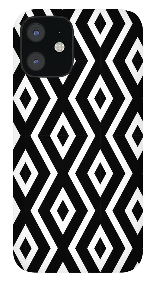 Black And White IPhone 12 Case featuring the mixed media Black and White Pattern by Christina Rollo