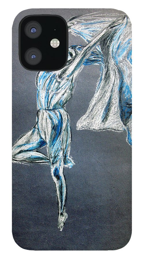 Ballet IPhone 12 Case featuring the drawing Blue Ballerina dance art by Tom Conway